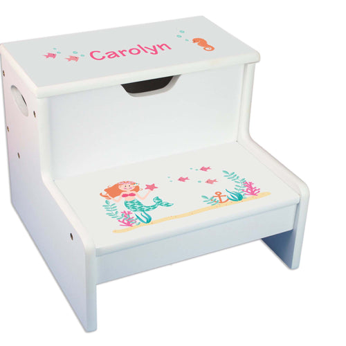 Mermaid Personalized White Storage Step Stool