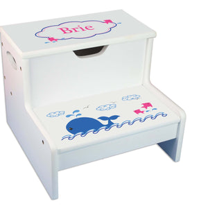 Pink Whale Personalized White Storage Step Stool
