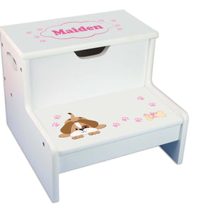 Pink Puppy Personalized White Storage Step Stool