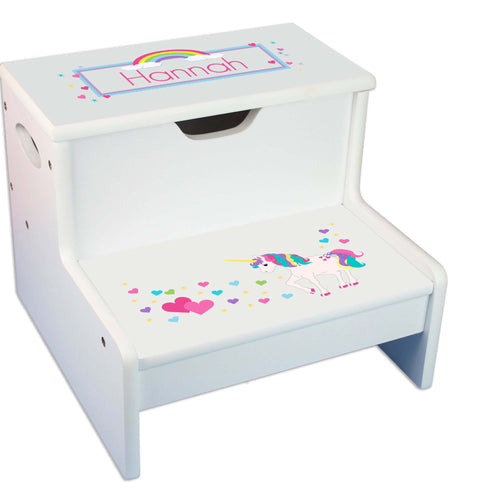 Unicorn Personalized White Storage Step Stool