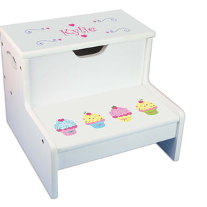Cupcake Personalized White Storage Step Stool