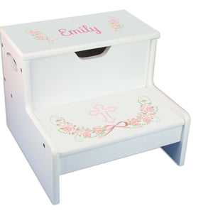 Blush Floral Cross White Storage Step Stool