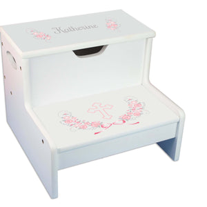 Pink Gray Floral Cross White Storage Step Stool