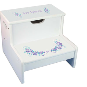 Lavender Floral Personalized White Storage Step Stool