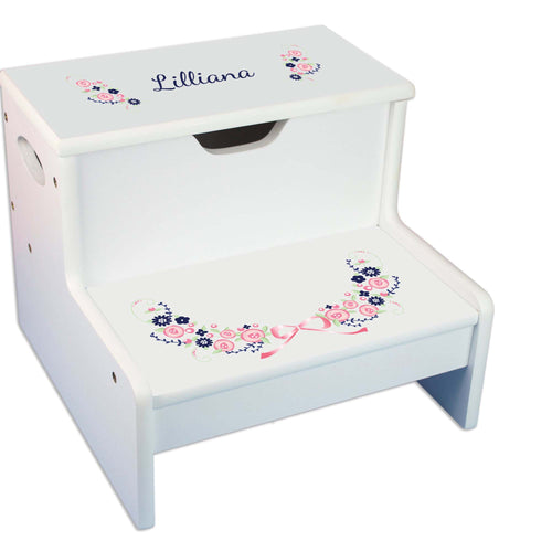Navy Pink Floral Garland Personalized White Storage Step Stool