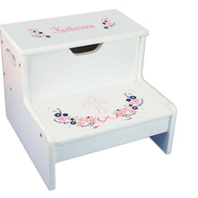 Navy Pink Cross White Storage Stool