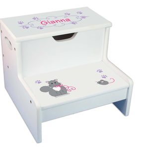 Kitty Cat Personalized White Storage Step Stool