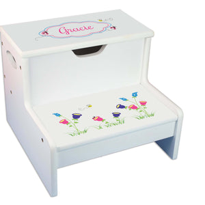English Garden Personalized White Storage Step Stool