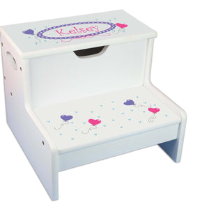 Heart Balloons Personalized White Storage Step Stool