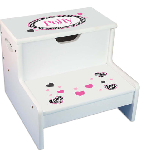Groovy Zebra Personalized White Storage Step Stool