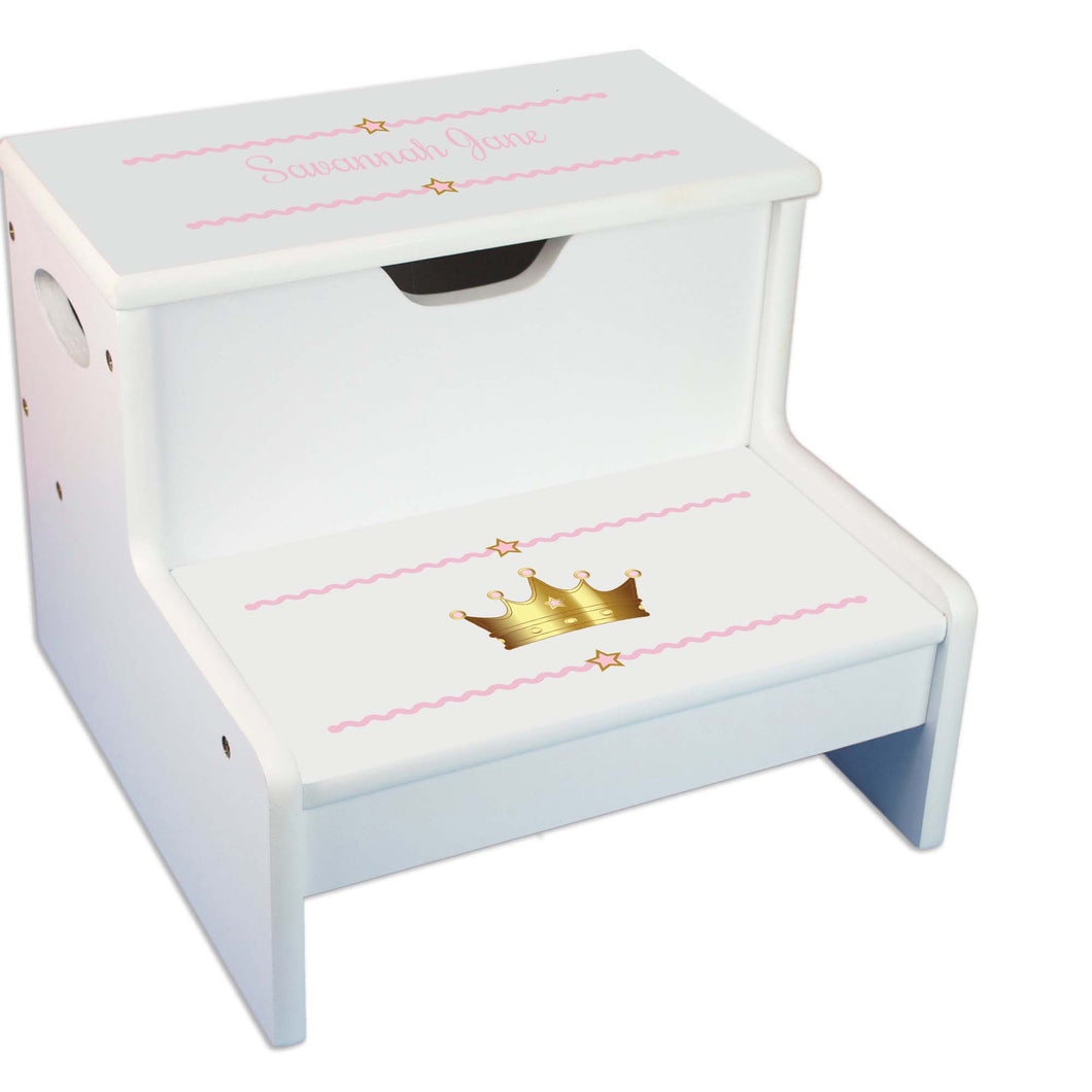 Pink Princess Crown Personalized White Storage Step Stool