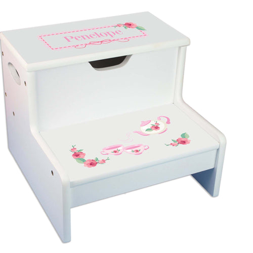 Tea Party Personalized White Storage Step Stool