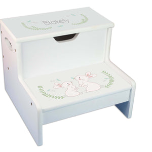 Bunny Personalized White Storage Step Stool