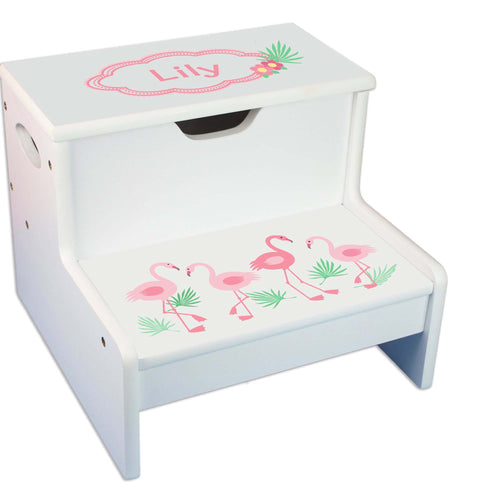 Flamingo Design White Storage Step Stool