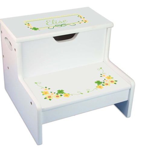 Shamrock Personalized White Storage Step Stool