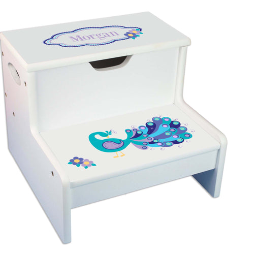 Peacock Personalized White Storage Step Stool