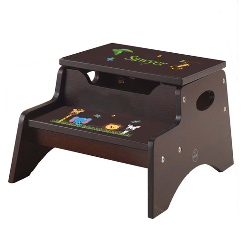 Jungle Animal Espresso Kidkraft Step N Store Stool