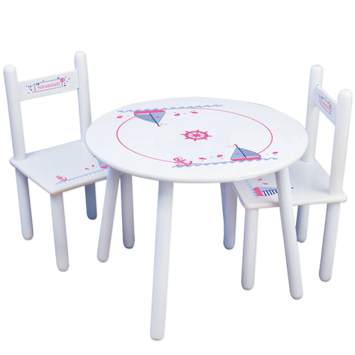 Personalized Table and Chairs with Pink Sailboat design