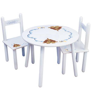 Personalized Table and Chairs with Blue Puppy design