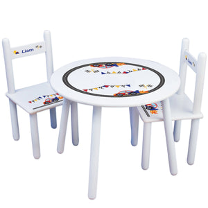 Personalized Table and Chairs with Race Cars design