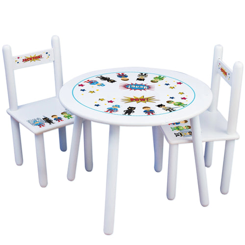 Personalized Table and Chairs with Superhero design