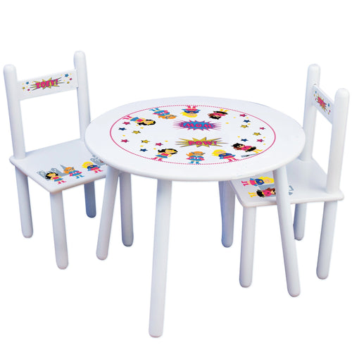 Personalized Table and Chairs with Superhero Girls design