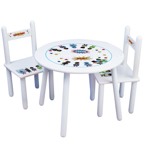 Personalized Table and Chairs with African American Superhero boy