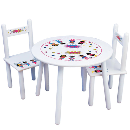Personalized Table and Chairs African American Super hero girl