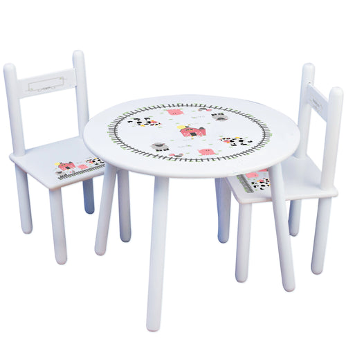 Personalized Table and Chairs with Barnyard Friends Pastel design