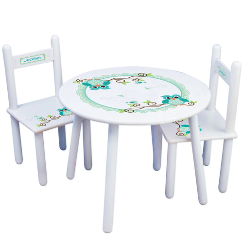 Personalized Table and Chairs with Blue Gingham Owl design