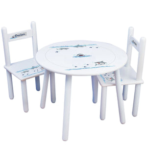 Personalized Table and Chairs with Shark Tank design