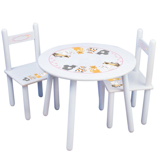 Personalized Table and Chairs with Pink Cats design