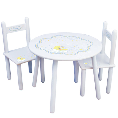 Personalized Table and Chairs with Moon and Stars design