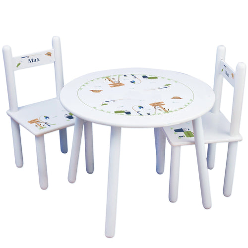 Personalized Table and Chairs with Gone Fishing design