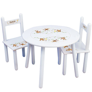 Personalized Table and Chairs with Monkey Boy design