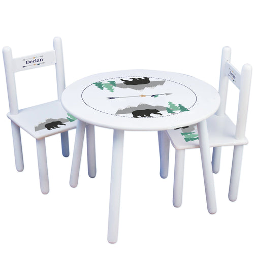Personalized Table and Chairs with Mountain Bear design