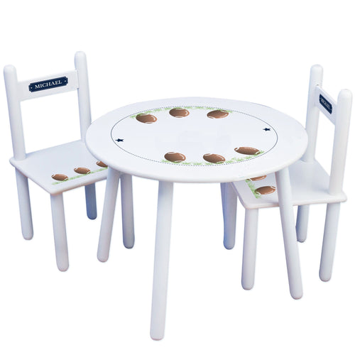 Personalized Table and Chairs with Footballs design