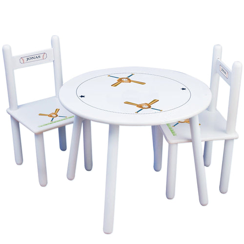 Personalized Table and Chairs with Baseball design