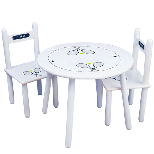 Personalized Table and Chairs with Tennis design