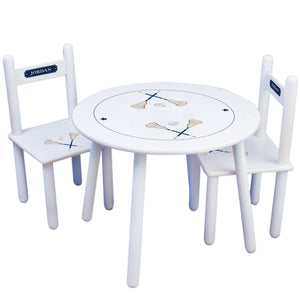 Personalized Table and Chairs with Lacrosse Sticks design