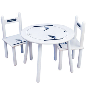 Personalized Table and Chairs with Gymnastics design