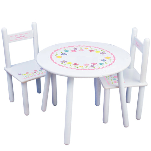 Personalized Table and Chairs with Stemmed Flowers design