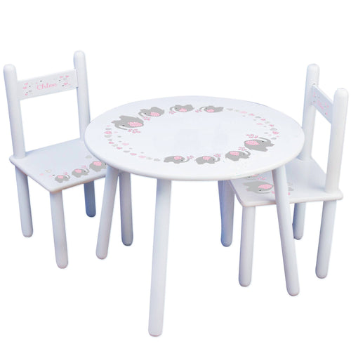 Personalized Table and Chairs with Pink Elephant design