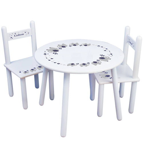 Personalized Table and Chairs with Navy Elephant design