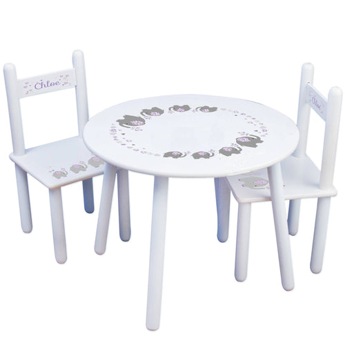 Personalized Table and Chairs with Lavender Elephant design