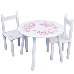 Personalized Table and Chairs with Paisley Pink Gray design