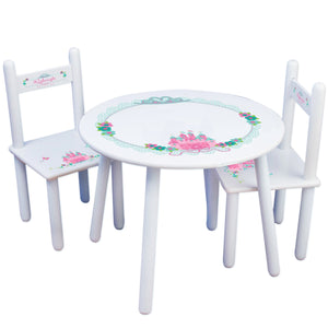 Personalized Table and Chairs with Pink Teal Princess Castle design
