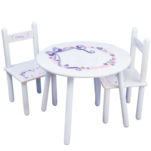 Personalized Table and Chairs with Lacey Bow design