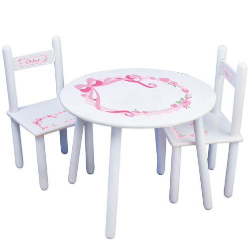 Personalized Table and Chairs with Pink Bow design