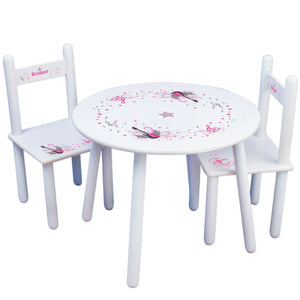 Personalized Table and Chairs with Pink Rock Star design